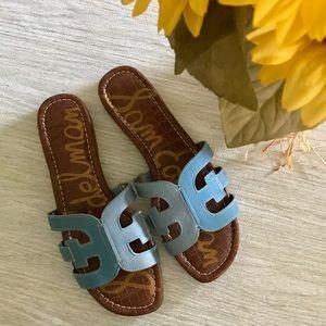 SAM EDELMAN Blue Leather Bay Sandals